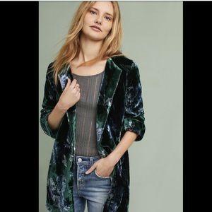 Eva Franco Floral Crushed Velvet Open Front Coat S